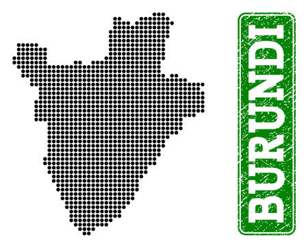 Dotted map of Burundi and corroded caption. Vector green title inside rounded rectangle and corroded rubber texture. Pixelated map of Burundi constructed with black pattern of round dots.  イラスト・ベクター素材