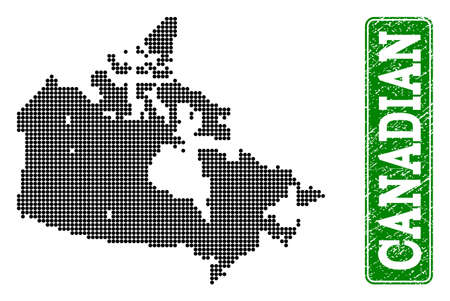 Dotted map of Canada and grunge caption. Vector green title inside rounded rectangle and grunge rubber texture. Pixelated map of Canada designed with black pattern of round dots.