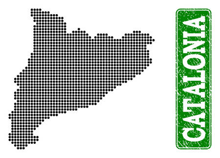 Dotted map of Catalonia and scratched caption. Vector green title inside rounded rectangle and scratched rubber texture. Pixelated map of Catalonia designed with black pattern of round dots.