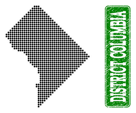 Dotted map of District Columbia and scratched caption. Vector green title inside rounded rectangle and scratched rubber texture. 일러스트