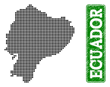 Dotted map of Ecuador and grunge caption. Vector green title inside rounded rectangle and retro rubber texture. Pixelated map of Ecuador constructed with black pattern of round dots.