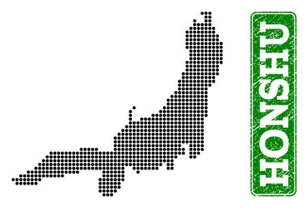 Dotted map of Honshu Island and corroded caption. Vector green title inside rounded rectangle and corroded rubber texture. Pixelated map of Honshu Island designed with black pattern of round dots.