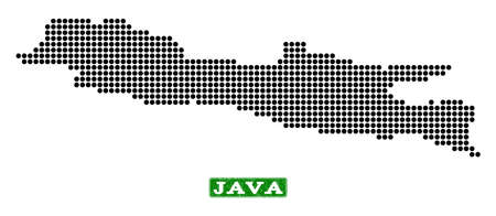 Dotted map of Java Island and corroded caption. Vector green title inside rounded rectangle and corroded rubber texture. Pixelated map of Java Island constructed with black pattern of round dots. Vetores