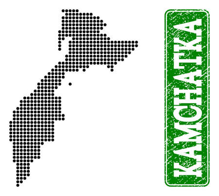 Dotted map of Kamchatka Peninsula and textured caption. Vector green title inside rounded rectangle and retro rubber texture. Ilustrace