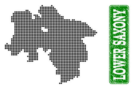 Dotted map of Lower Saxony State and rubber caption. Vector green title inside rounded rectangle and distress rubber texture. Vektorgrafik