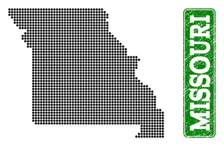 Dotted map of Missouri State and rubber caption. Vector green title inside rounded rectangle and retro rubber texture. Pixelated map of Missouri State constructed with black pattern of round dots.