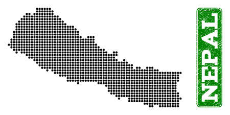 Dotted map of Nepal and grunge caption. Vector green title inside rounded rectangle and unclean rubber texture. Pixelated map of Nepal constructed with black pattern of round dots.