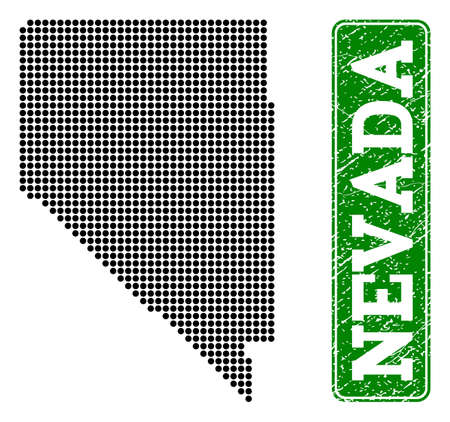 Dotted map of Nevada State and rubber caption. Vector green title inside rounded rectangle and unclean rubber texture. Pixelated map of Nevada State designed with black pattern of round dots. 向量圖像