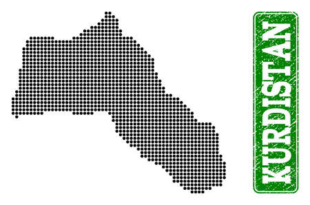 Dotted map of Kurdistan and grunge caption. Vector green title inside rounded rectangle and grunge rubber texture. Pixelated map of Kurdistan designed with black pattern of round dots.