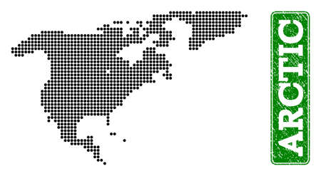 Dotted map of North America and Greenland and rubber caption. Vector green title inside rounded rectangle and distress rubber texture.