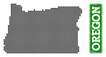 Dotted map of Oregon State and rubber caption. Vector green title inside rounded rectangle and corroded rubber texture. Pixelated map of Oregon State constructed with black pattern of round dots.