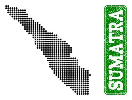 Dotted map of Sumatra Island and rubber caption. Vector green title inside rounded rectangle and distress rubber texture. Pixelated map of Sumatra Island designed with black pattern of round dots.