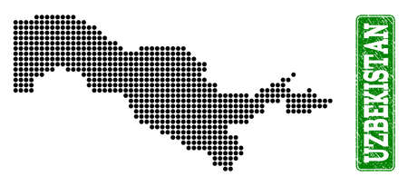 Dotted map of Uzbekistan and rubber caption. Vector green title inside rounded rectangle and distress rubber texture. Pixelated map of Uzbekistan constructed with black pattern of round dots.