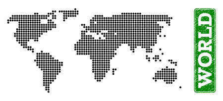 Dotted map of world and rubber caption. Vector green title inside rounded rectangle and scratched rubber texture. Pixelated map of world constructed with black pattern of round dots.