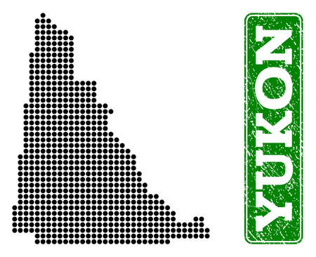 Dotted map of Yukon Province and scratched caption. Vector green title inside rounded rectangle and scratched rubber texture.