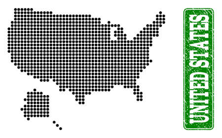 Dotted map of USA and Alaska and rubber caption. Vector green title inside rounded rectangle and scratched rubber texture. Pixelated map of USA and Alaska designed with black pattern of round dots.