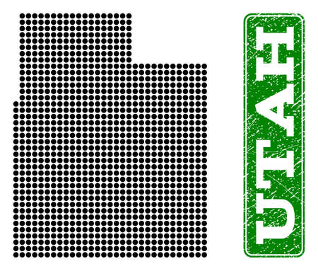 Dotted map of Utah State and grunge caption. Vector green title inside rounded rectangle and grunge rubber texture. Pixelated map of Utah State constructed with black pattern of round dots.  イラスト・ベクター素材