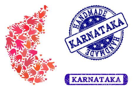 Handmade craft combination of mosaic map of Karnataka State and corroded seal stamps. Mosaic map of Karnataka State constructed with red hands. Vector blue watermarks with corroded rubber texture. Illustration