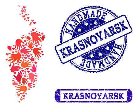 Handmade craft collage of mosaic map of Krasnoyarsk Krai and unclean seal stamps. Mosaic map of Krasnoyarsk Krai designed with red hands. Vector blue seals with unclean rubber texture.