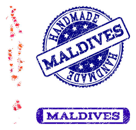 Handmade craft combination of mosaic map of Maldives and unclean seal stamps. Mosaic map of Maldives constructed with red hands. Vector blue watermarks with unclean rubber texture.