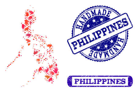 Handmade craft combination of mosaic map of Philippines and rubber stamps. Mosaic map of Philippines constructed with red hands. Vector blue watermarks with retro rubber texture.