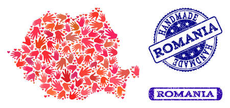 Handmade craft composition of mosaic map of Romania and rubber seal stamps. Mosaic map of Romania designed with red hands. Vector blue imprints with unclean rubber texture. Ilustração