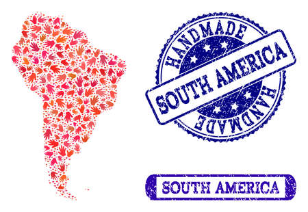 Handmade craft composition of mosaic map of South America and unclean seals. Mosaic map of South America constructed with red hands. Vector blue seals with distress rubber texture.
