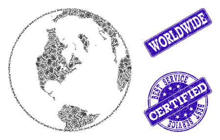 Best service combination of mosaic global map of world and blue rubber stamps. Mosaic global map of world constructed with gray gears and wrenches. Vector blue seals with unclean rubber texture.