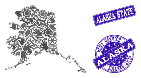Best service composition of mosaic map of Alaska State and blue rubber seals. Mosaic map of Alaska State designed with gray gears and wrenches. Vector blue seals with corroded rubber texture.