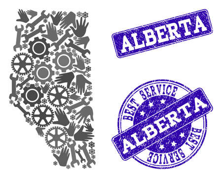 Best service composition of mosaic map of Alberta Province and blue unclean seals. Mosaic map of Alberta Province constructed with gray gears and wrenches.