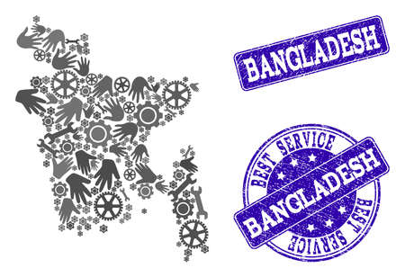 Best service combination of mosaic map of Bangladesh and blue rubber seal stamps. Mosaic map of Bangladesh designed with gray gears and wrenches. Vector blue watermarks with unclean rubber texture.
