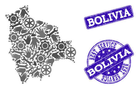 Best service collage of mosaic map of Bolivia and blue rubber seals. Mosaic map of Bolivia designed with gray gears and wrenches. Vector blue seals with distress rubber texture. Ilustrace