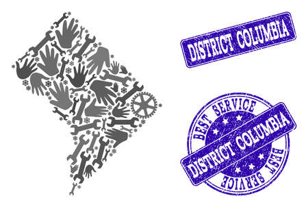 Best service composition of mosaic map of District Columbia and blue grunge seals. Mosaic map of District Columbia designed with gray gears and wrenches. Vector blue seals with grunge rubber texture.