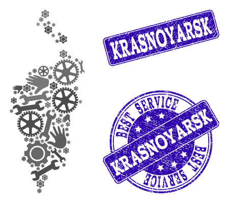Best service composition of mosaic map of Krasnoyarsk Krai and blue rubber seal stamps. Mosaic map of Krasnoyarsk Krai constructed with gray gears and wrenches.