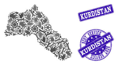Best service combination of mosaic map of Kurdistan and blue rubber seal stamps. Mosaic map of Kurdistan designed with gray gears and wrenches. Vector blue watermarks with grunge rubber texture.
