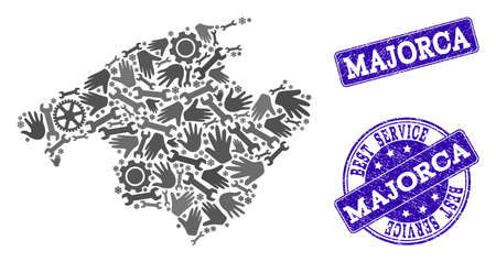Best service composition of mosaic map of Majorca and blue dirty seals. Mosaic map of Majorca designed with gray gears and wrenches. Vector blue seals with scratched rubber texture. Ilustração