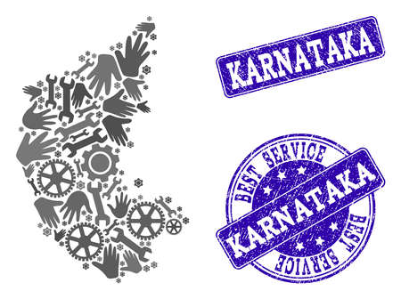 Best service collage of mosaic map of Karnataka State and blue rubber seals. Mosaic map of Karnataka State designed with gray gears and wrenches. Vector blue imprints with scratched rubber texture. Illustration