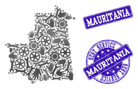Best service collage of mosaic map of Mauritania and blue rubber stamps. Mosaic map of Mauritania constructed with gray gears and wrenches. Vector blue imprints with distress rubber texture.