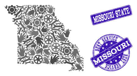 Best service combination of mosaic map of Missouri State and blue rubber seals. Mosaic map of Missouri State constructed with gray gears and wrenches. Vector blue imprints with retro rubber texture. Ilustração