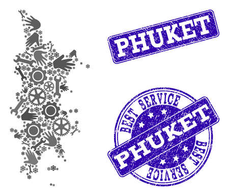 Best service composition of mosaic map of Phuket and blue rubber seals. Mosaic map of Phuket designed with gray gears and wrenches. Vector blue seals with unclean rubber texture. 向量圖像