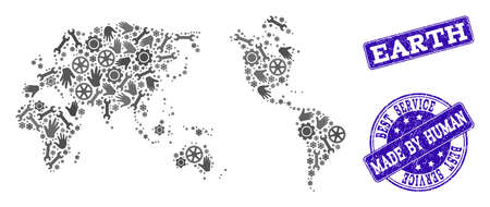 Best service collage of mosaic map of Earth and blue scratched seals. Mosaic map of Earth constructed with gray gears and wrenches. Vector blue seals with retro rubber texture.