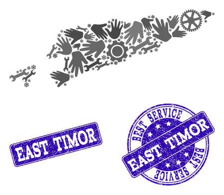 Best service collage of mosaic map of East Timor and blue rubber seal stamps. Mosaic map of East Timor designed with gray gears and wrenches. Vector blue watermarks with scratched rubber texture.