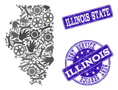 Best service collage of mosaic map of Illinois State and blue unclean seal stamps. Mosaic map of Illinois State designed with gray gears and wrenches. Vector blue imprints with unclean rubber texture.