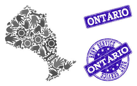 Best service collage of mosaic map of Ontario Province and blue rubber seals. Mosaic map of Ontario Province designed with gray gears and wrenches. Vector blue seals with corroded rubber texture.