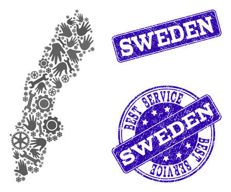 Best service collage of mosaic map of Sweden and blue corroded stamps. Mosaic map of Sweden constructed with gray gears and wrenches. Vector blue watermarks with corroded rubber texture.