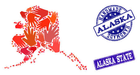 Handmade craft collage of mosaic map of Alaska State and scratched seals. Mosaic map of Alaska State designed with red hands. Vector blue seals with scratched rubber texture. Иллюстрация