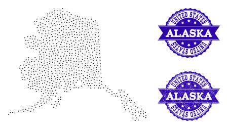 Dotted black map of Alaska State and blue rubber seal. Vector map of Alaska State designed with irregular small spheric points. Vector blue seal with corroded rubber texture.