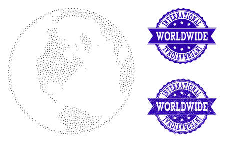 Dotted black global map of world and blue textured seal. Vector global map of world constructed with irregular small round dots. Vector blue seal with distress rubber texture. Stock Illustratie