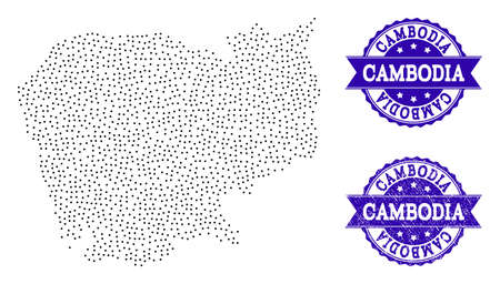 Dotted black map of Cambodia and blue corroded seal. Vector map of Cambodia designed with irregular small circle points. Vector blue seal with corroded rubber texture.