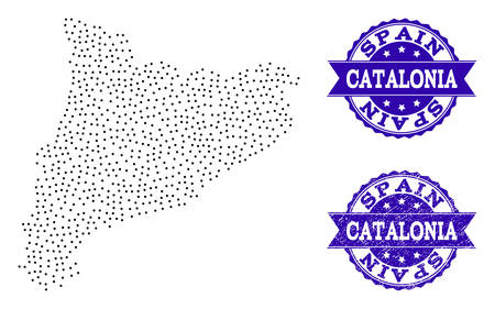 Dotted black map of Catalonia and blue unclean stamp. Vector map of Catalonia constructed with irregular small spheric dots. Vector blue watermark with unclean rubber texture. Ilustração